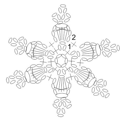 5 Schneeflocken für einen weihnachtlichen Gardinenhalter