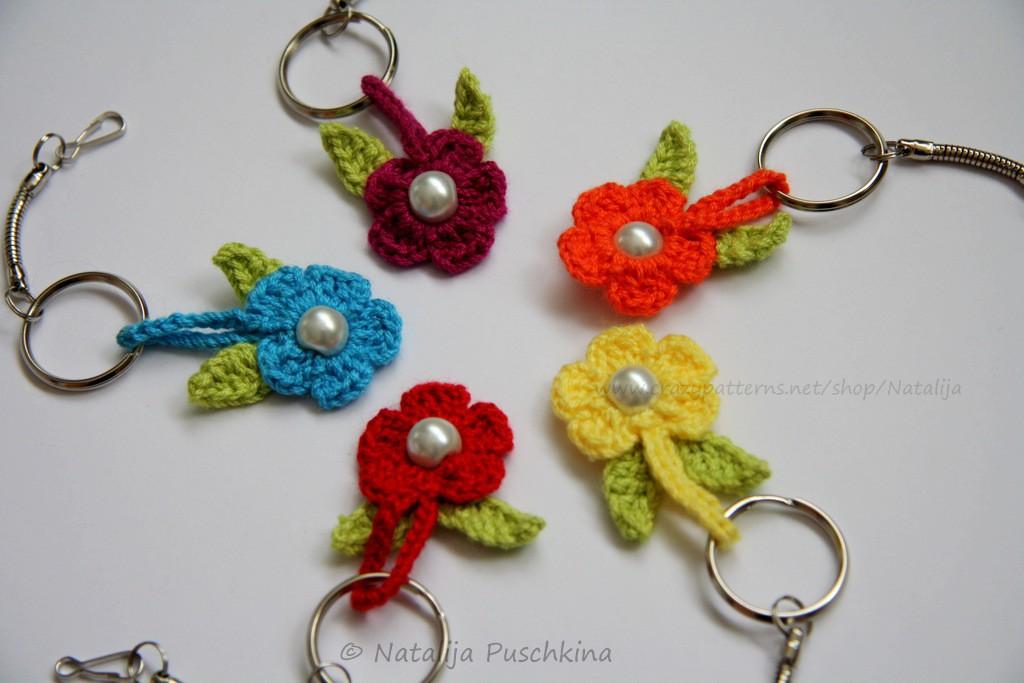 Häkelanleitung 'Blume\' Schlüsselanhänger oder Taschenbäumler