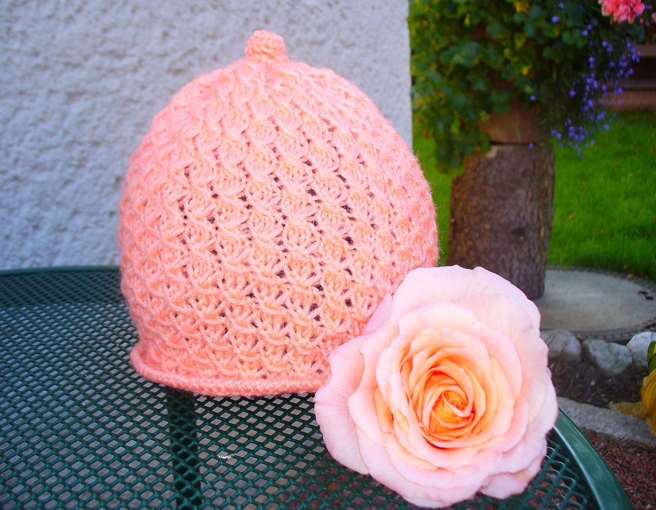 FREE  Knitting Pattern. Lace Hat