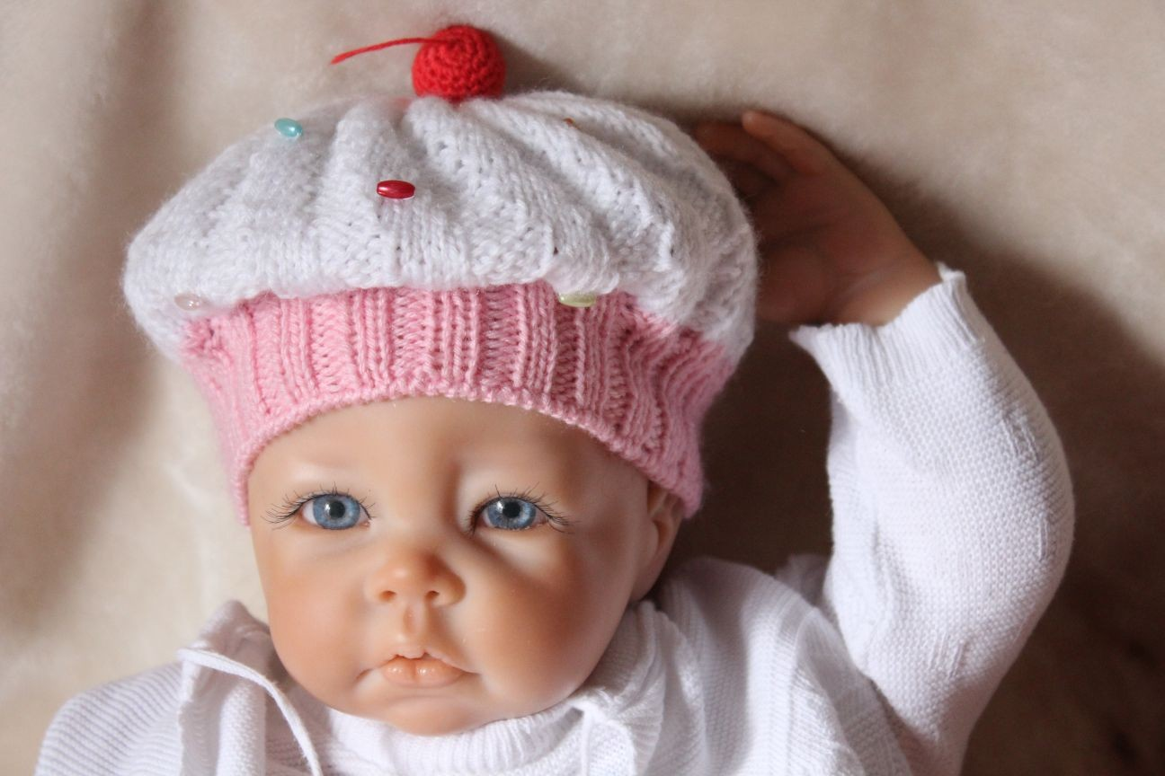 Kostenlose Strickanleitung für Babymütze Muffin
