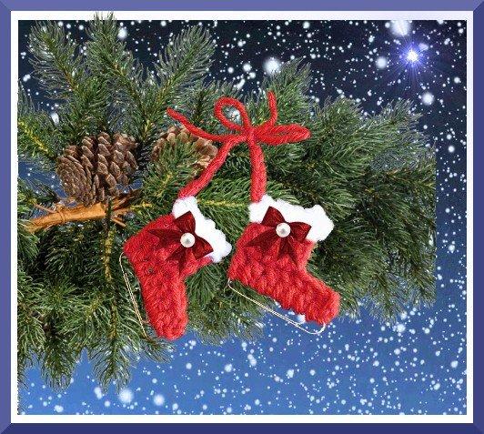 Süße Kleine Schlittschuhe Gehäkelt Baumbehang Oder Geschenkanhänger