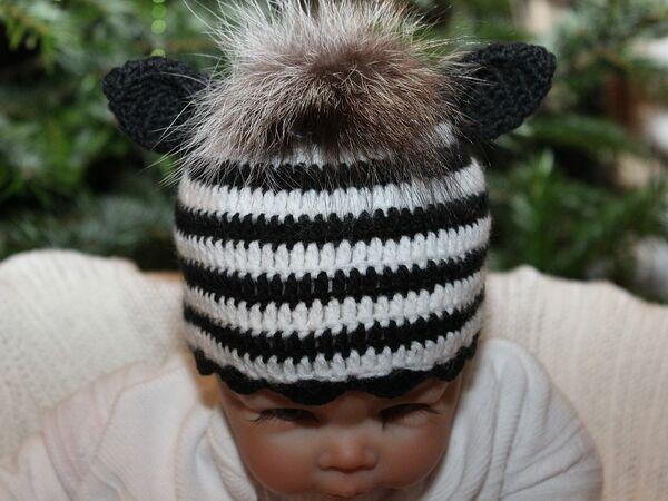 Babymütze Zebra. Kostenlose Häkelanleitung