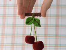 "Free Crochet Pattern Brooch / hairpin for hair ""Cherries"""