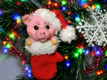 A New Year Piglet. Christmas tree toy. Free Crochet Pattern.
