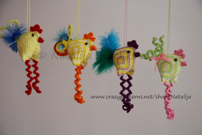 Easter Decoration -crazy chicken, crochet pattern