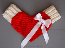 Valentine's day mittens red Love Gloves, Valentine - Crochet Pattern, INSTANT DOWNLOAD