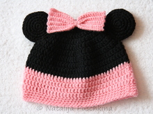 Mikki Maus Hat with a bow Crochet Pattern, 3 Size
