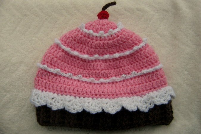 Cupcake Hat with a Cherry Crochet Pattern, 3 Size