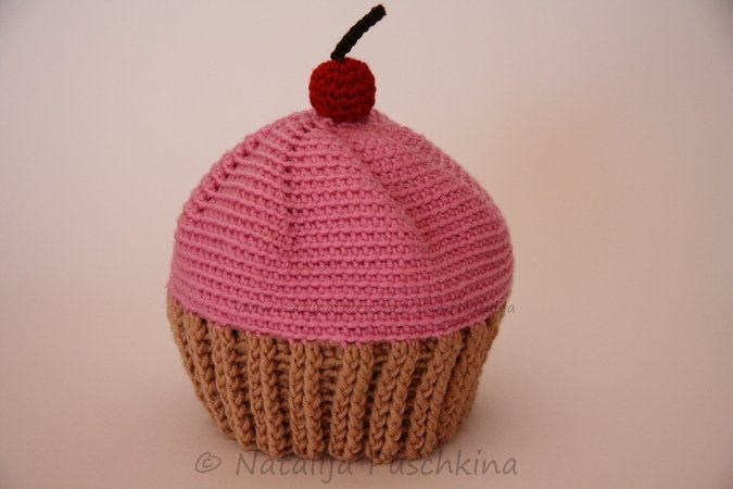 Cupcake Hat with a Cherry Crochet Pattern