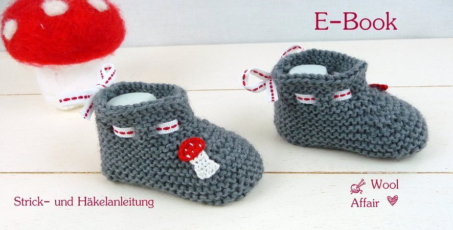 babyschuhe stricken fliegenpilz applikation. Black Bedroom Furniture Sets. Home Design Ideas
