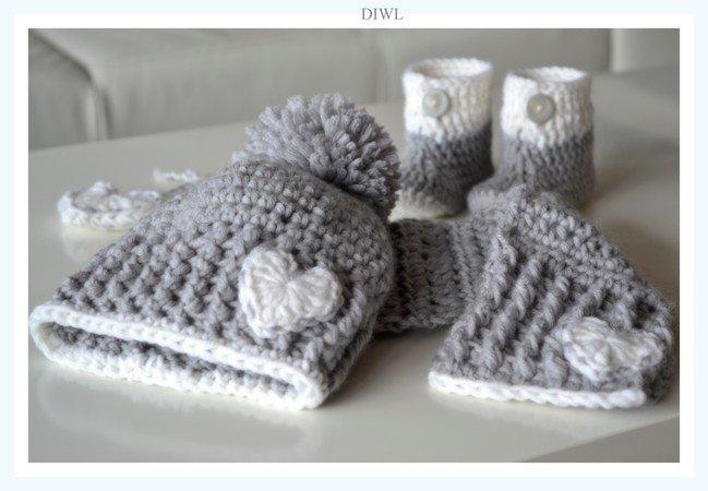 Baby-Set: Schal + Mütze + Schühchen häkeln