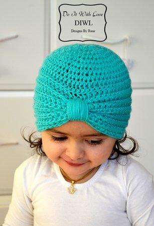 Baby Kinder Turban Style Mütze Häkelanleitung
