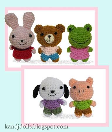 Tiere häkeln-Bär, Ferkel, Frosch, Hund + Hase