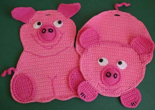 Häkelanleitung Topflappen Schweinchen Diy
