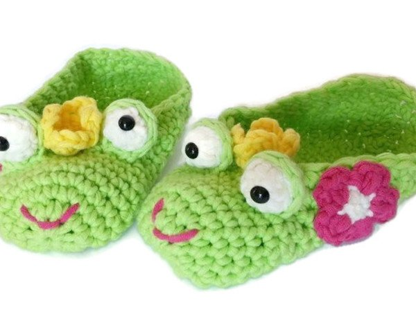 Frosch-Haus-Schuhe häkeln // Kinder-Hingucker