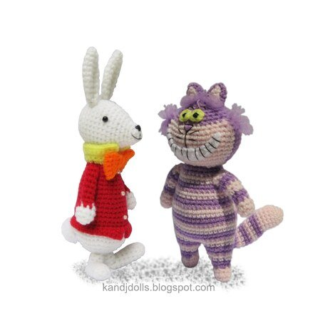 Alice in Wonderland, Mad Hatter, White Rabbit and Cheshire Cat, PDF crochet patterns