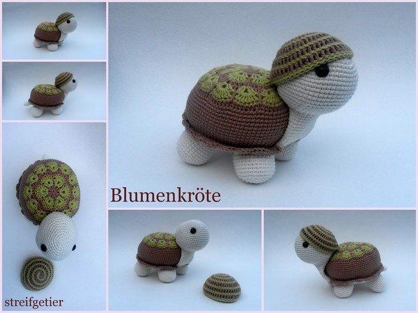 Häkeln Amigurumi Schildkröte Blumenkröte