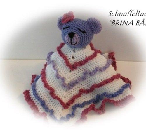 Schnuffel-Tuch häkeln--Bären-Motiv--kuschelig