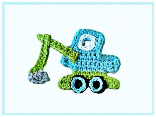 Excavator and Car Pattern Crochet Appliques