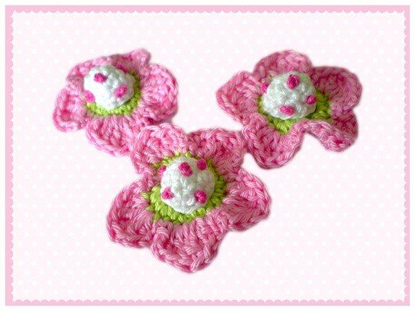 Applikation häkeln///Eule+Schmetterling+Blume