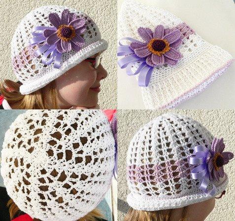 Sommerhut häkeln für Kinder mit Blume drauf