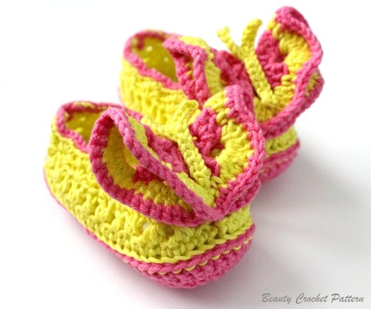 Crochet Pattern Butterfly Baby Shoes