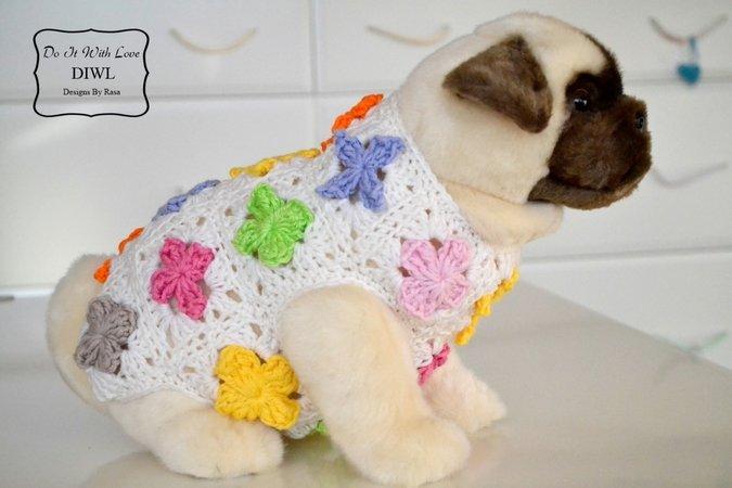 Häkelanleitung E-Book Hundepulli 3D Blumen
