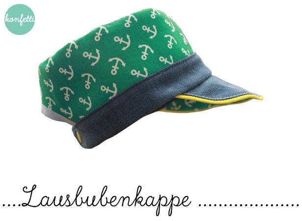 Lausbuben-Kappe Schnitt + Anleitung Hut Kappe (KU 35cm bis 58cm)