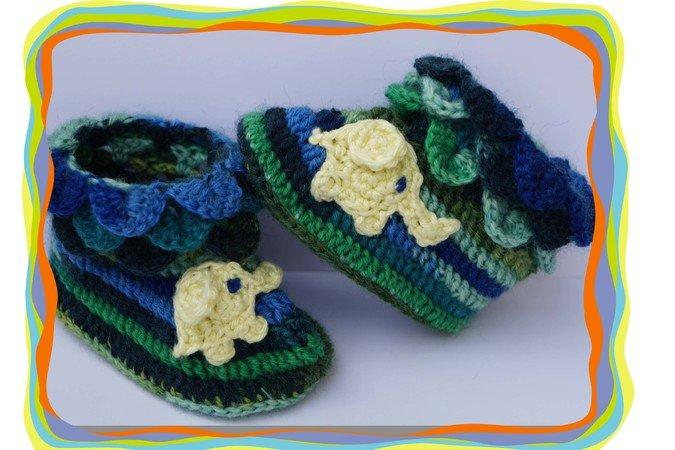 Häkelanleitung Baby-Schuhe // Baby-Stiefel