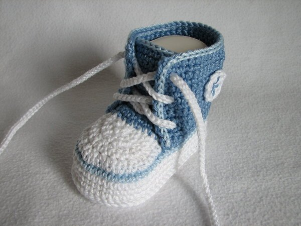 Baby-Sneaker häkeln ▻ DIY Baby-Schuhe häkeln