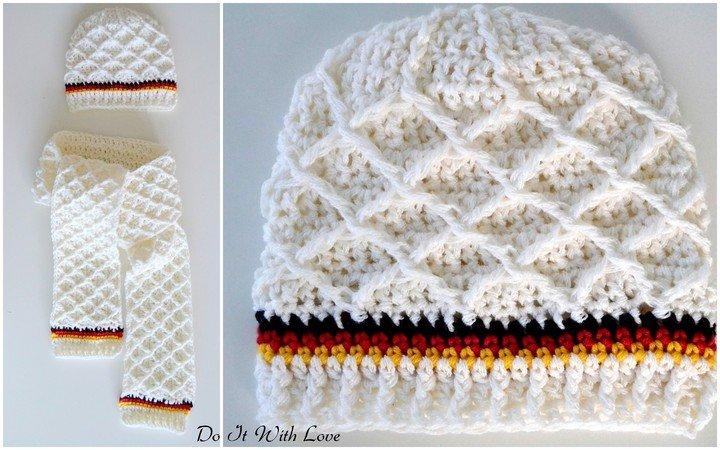 Mütze + Schal für Deutschland-Fans häkeln