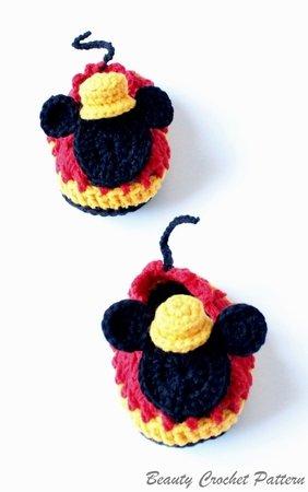 E-Book Häkelanleitung Mickey Maus Baby Schuhe