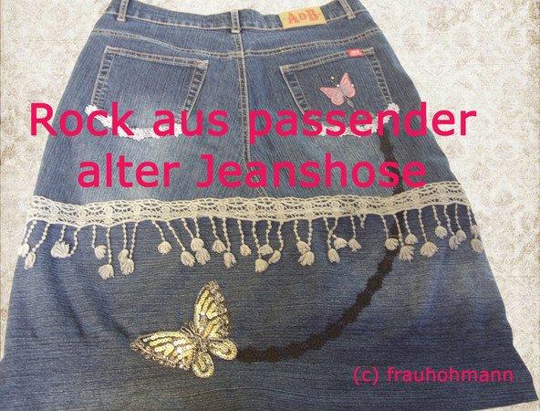 Jeansrock Aus Passender Jeanshose Nahen