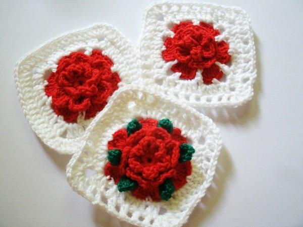 granny squares mit 3 d rose h keln. Black Bedroom Furniture Sets. Home Design Ideas