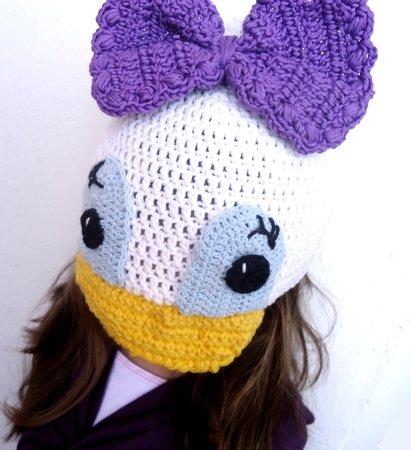 Häkelanleitung Daisy Duck Mütze