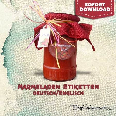 Marmeladenglas Etiketten Erdbeermarmelade Aufkleber