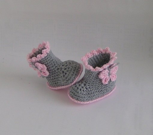 Baby-Booties häkeln   Schmetterlingsmotiv