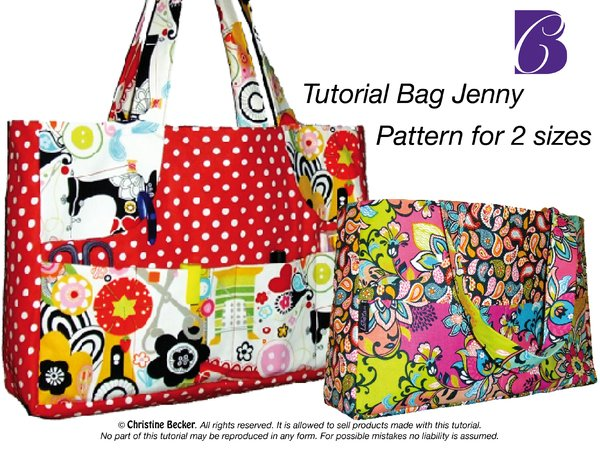 Bag Jenny with zipper,Pattern for 2 sizes