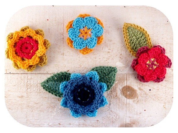 gratis Blumen + Blüten häkeln – 2 Motive ✓✓