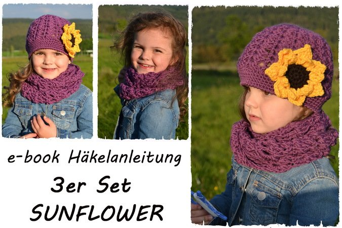 Set Mütze Loop Selber Häkeln Sonnenblume