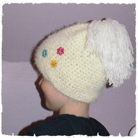 Mütze Zipfelmütze Häkelmütze Babymütze Bommel Kopfumfang 36-40 cm