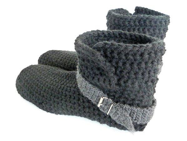 Herren-Hausschuhe häkeln - Männer-Stiefel DIY