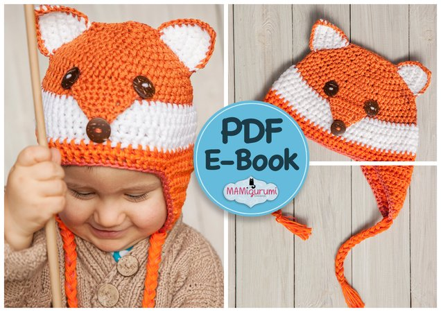 Mütze Fuchs-Design häkeln für Babys + Kinder