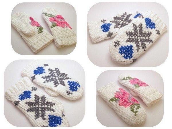 Handschuhe mit Norweger- /Rosenmuster häkeln