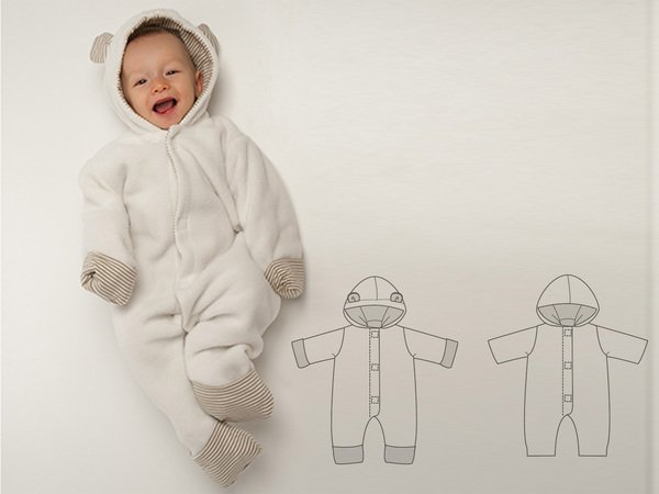 CASSIA Baby boys + girls overall sewing pattern pdf. Lined toddler jumpsuit with hood + ears, dungaree for carnival Ebook by Patternforkids
