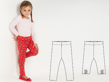 ENNA Baby girl leggings pattern. Easy stretch pants sewing pattern for girls and boys. 9M to 6Y ebook pdf download by Patternforkids