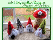 Little Gnomes with Mushroom Houses, Amigurumi crochet pattern