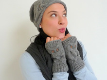 Knitting Pattern - fingerless Gloves - OWL DESIGN - No.101E