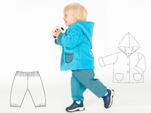 TORINO + TORETTO Baby pattern bundle jacket and pants. Hooded coat and lined toddler pants for boys and girls 1M to 3Y pdf by Patternforkids