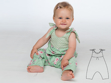 LOTTE Baby girls overall sewing pattern pdf with bows and yoke on the back. Toddler jumpsuit dungaree for summer + winter by Patternforkids